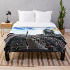 """Indianapolis 500 Start collage """"Back home again in Indiana"""" Throw Blanket"""
