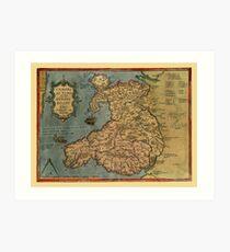 Map Of Wales 1573 Art Print