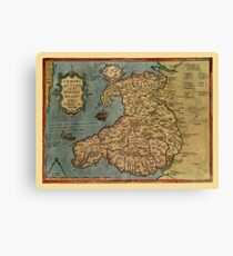 Map Of Wales 1573 Canvas Print