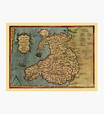 Map Of Wales 1573 Photographic Print