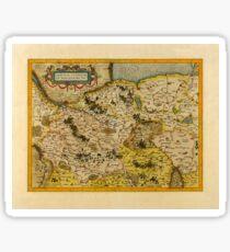Map Of Saxony 1613 Sticker