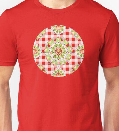 Red Gingham Firework Mandala T-Shirt