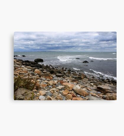 About to Rain on a Rocky Shore Canvas Print