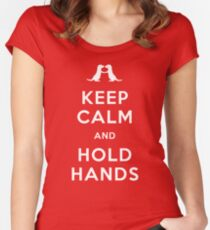 Keep Calm and Hold Hands (Otters holding hands) Women's Fitted Scoop T-Shirt