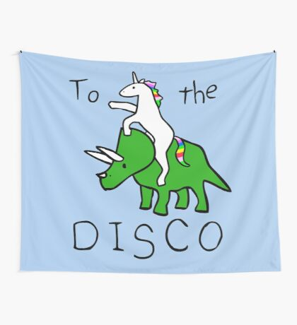To The Disco (Unicorn Riding Triceratops) Wall Tapestry