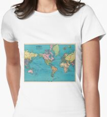 Vintage Map of The World (1897) Women's Fitted T-Shirt