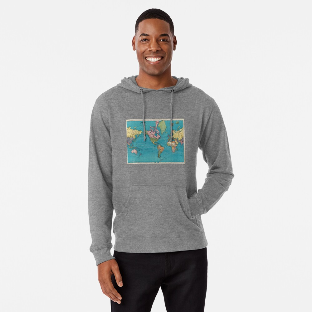 Vintage Map of The World (1897) Lightweight Hoodie
