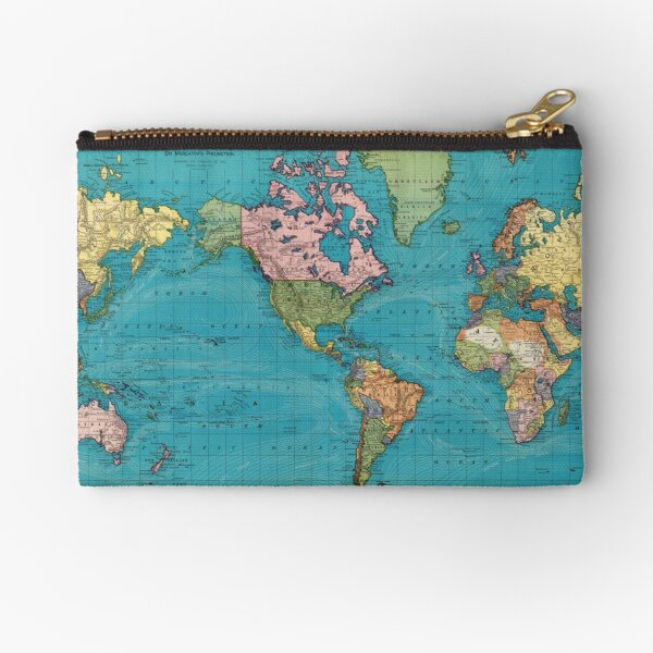 Vintage Map of The World (1897) Zipper Pouch