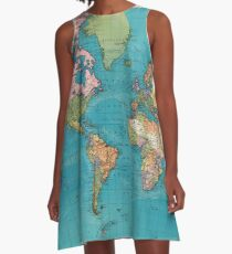 Vintage Map of The World (1897) A-Line Dress