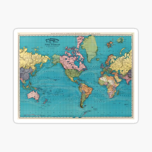 Vintage Map of The World (1897) Sticker