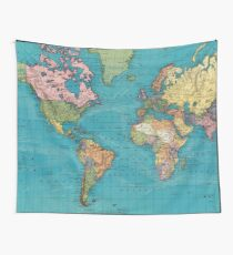 Vintage Map of The World (1897) Wall Tapestry