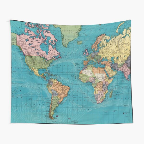 Vintage Map of The World (1897) Tapestry