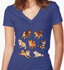 shibes in blue Women's Fitted V-Neck T-Shirt