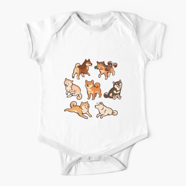shibes in blue Short Sleeve Baby One-Piece