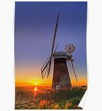 Sunset at Thurne mill Poster