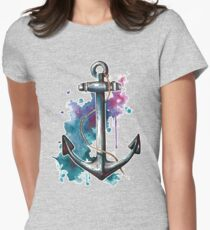 Nautical Watercolor Anchor Womens Fitted T-Shirt