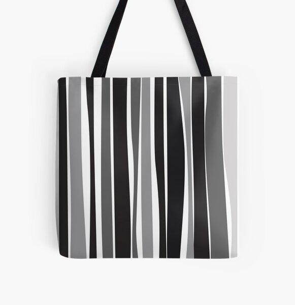 Retro Stripe Black/White/Grey All Over Print Tote Bag