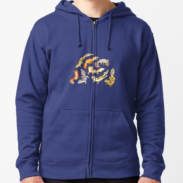 chub geckos in blue Zipped Hoodie