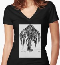 Micron brush pen drawing Women's Fitted V-Neck T-Shirt