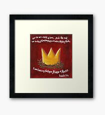 Red Christmas Square - Crown Framed Print
