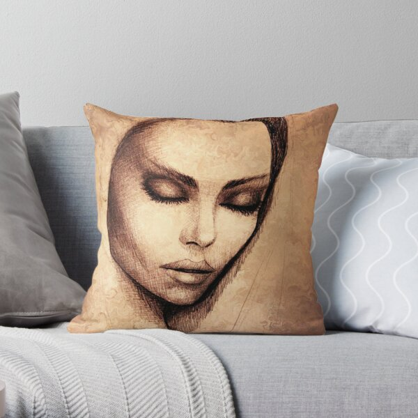 Female face drawing  Throw Pillow