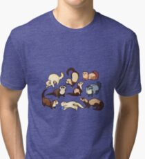 cat snakes in blue Tri-blend T-Shirt