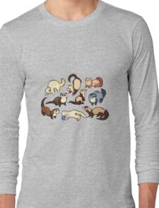 cat snakes in blue Long Sleeve T-Shirt
