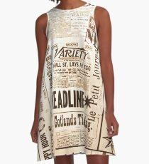 Newspaper Print A-Line Dress