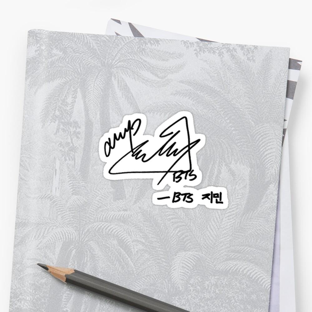 Quot Bts Jimin Signature Quot Sticker By Musicalsamurai Redbubble