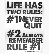 Rules of Life Black Text T-shirt & Homewares Poster