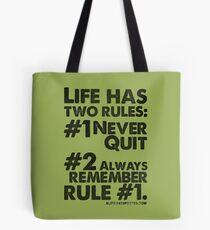 Rules of Life Black Text T-shirt & Homewares Tote Bag