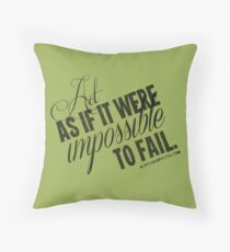 Impossible To Fail Black Text Quote T-shirts & Homewares Throw Pillow