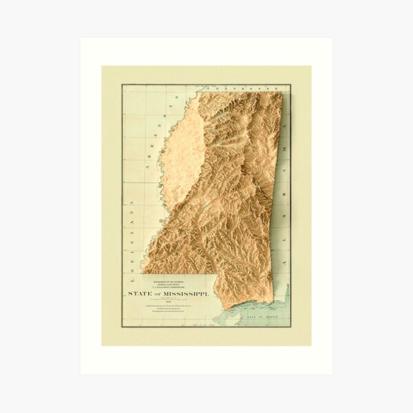 1878 Mississippi Relief Map 3D digitally-rendered Art Print