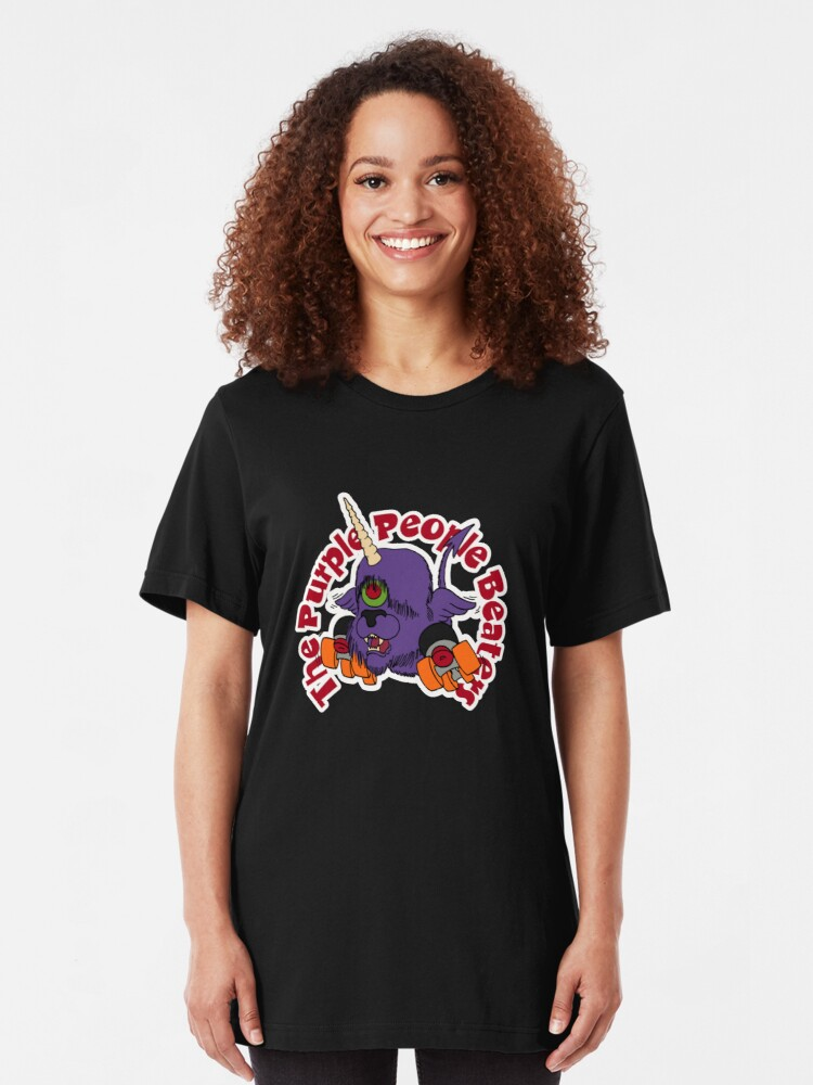 """Alternate view of BRDL """"The Purple People Beaters"""" - Clothing, Tablet/Phone Cases, Pillows & MORE Slim Fit T-Shirt"""