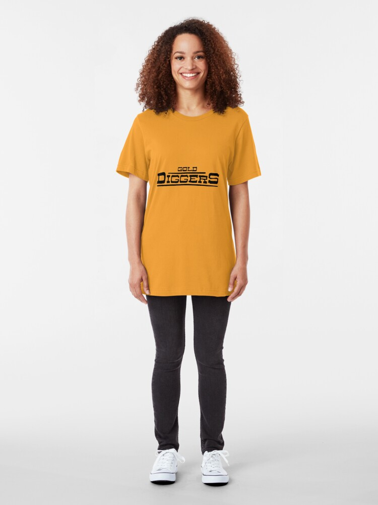 """Alternate view of BRDL """"Gold Diggers"""" Logo - Clothing, Pillows, Posters and MORE Slim Fit T-Shirt"""