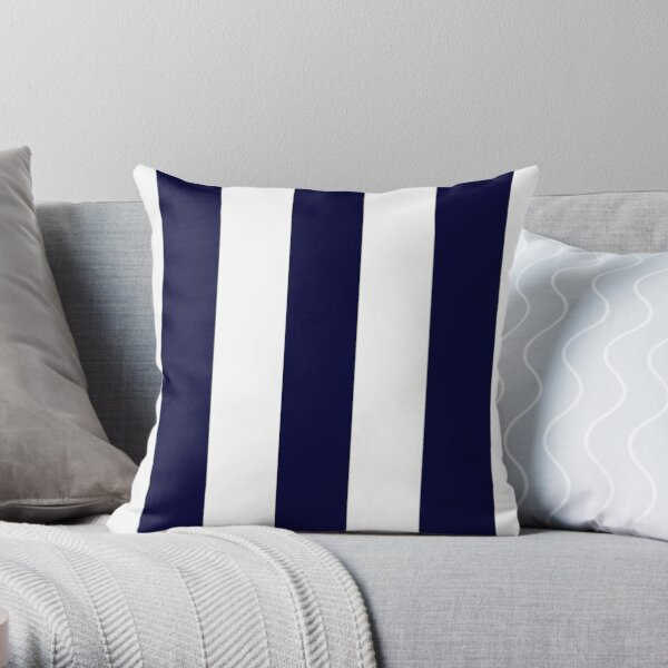 Navy Blue And White Stripes Throw Pillow