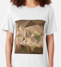 Burlywood Abstract Low Polygon Background Slim Fit T-Shirt