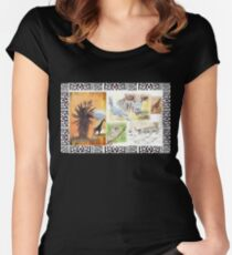 Lodge décor - An African wildlife collage Women's Fitted Scoop T-Shirt