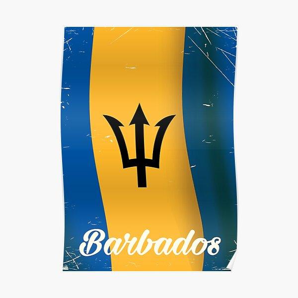 Barbados national flag vacation poster Poster