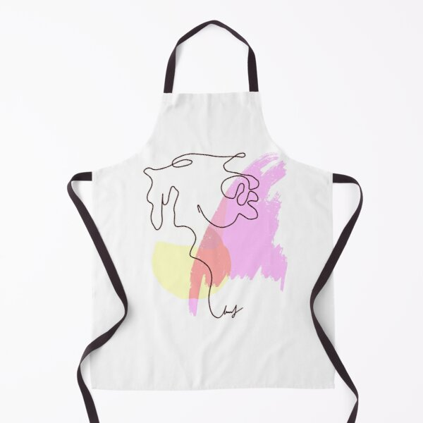 Abstract Line Art Dog Drawing on Watercolor Strokes Apron