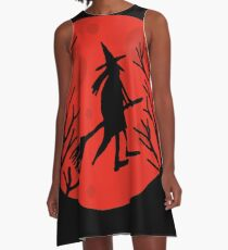 Halloween witch - red moon A-Line Dress