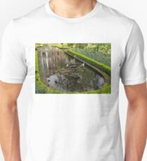 Backyard Tranquility - a Beautifully Landscaped Garden with a Fountain Unisex T-Shirt