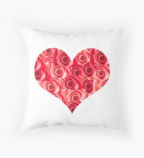 Heart made of Red Roses Throw Pillow