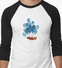 Camiseta ¾ bicolor para hombre Perro Dachshund y globos