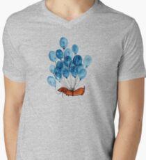 Camiseta para hombre de cuello en v Perro Dachshund y globos