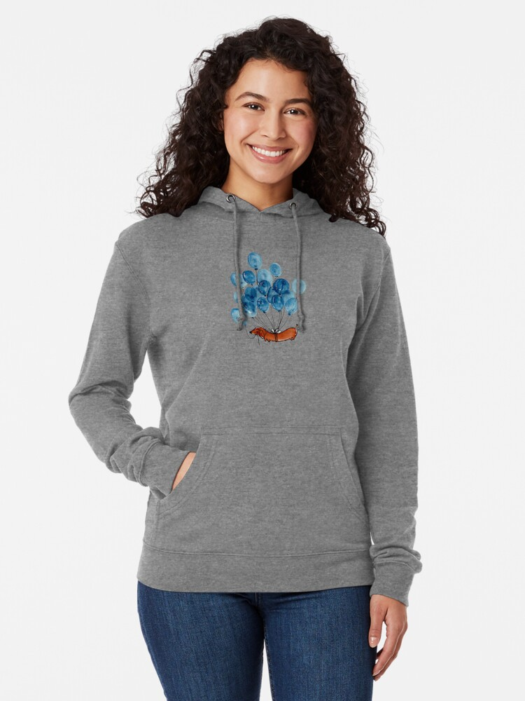 Alternate view of Dachshund dog and balloons Lightweight Hoodie