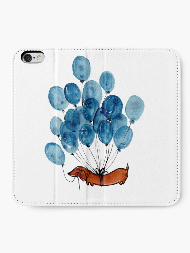 Alternate view of Dachshund dog and balloons iPhone Wallet