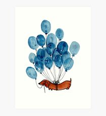 Dachshund dog and balloons Art Print