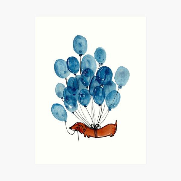 Dachshund dog and balloons Art Print