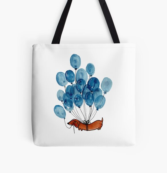Dachshund dog and balloons All Over Print Tote Bag
